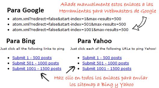 como crear y enviar sitemap de blogger a google bing y yahoo