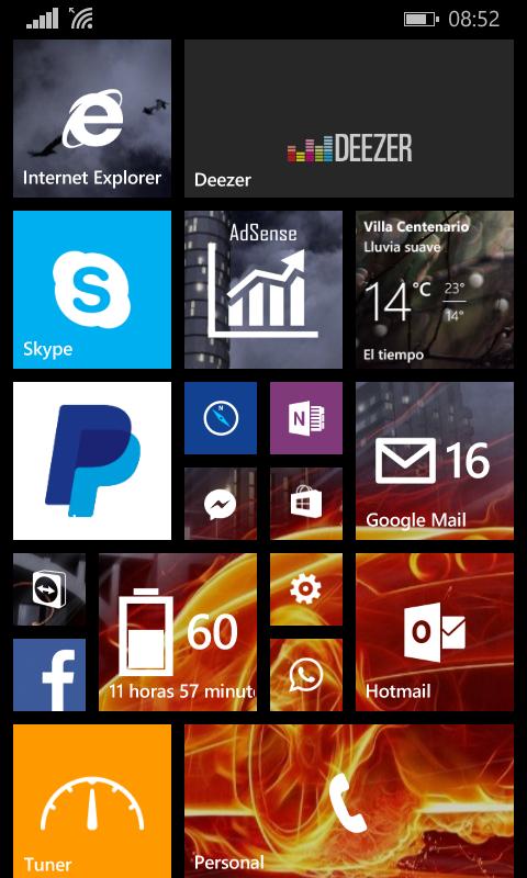 Mi pantalla de Inicio Windows Phone
