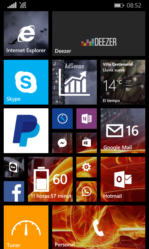 Mi pantalla de Inicio Windows Phone